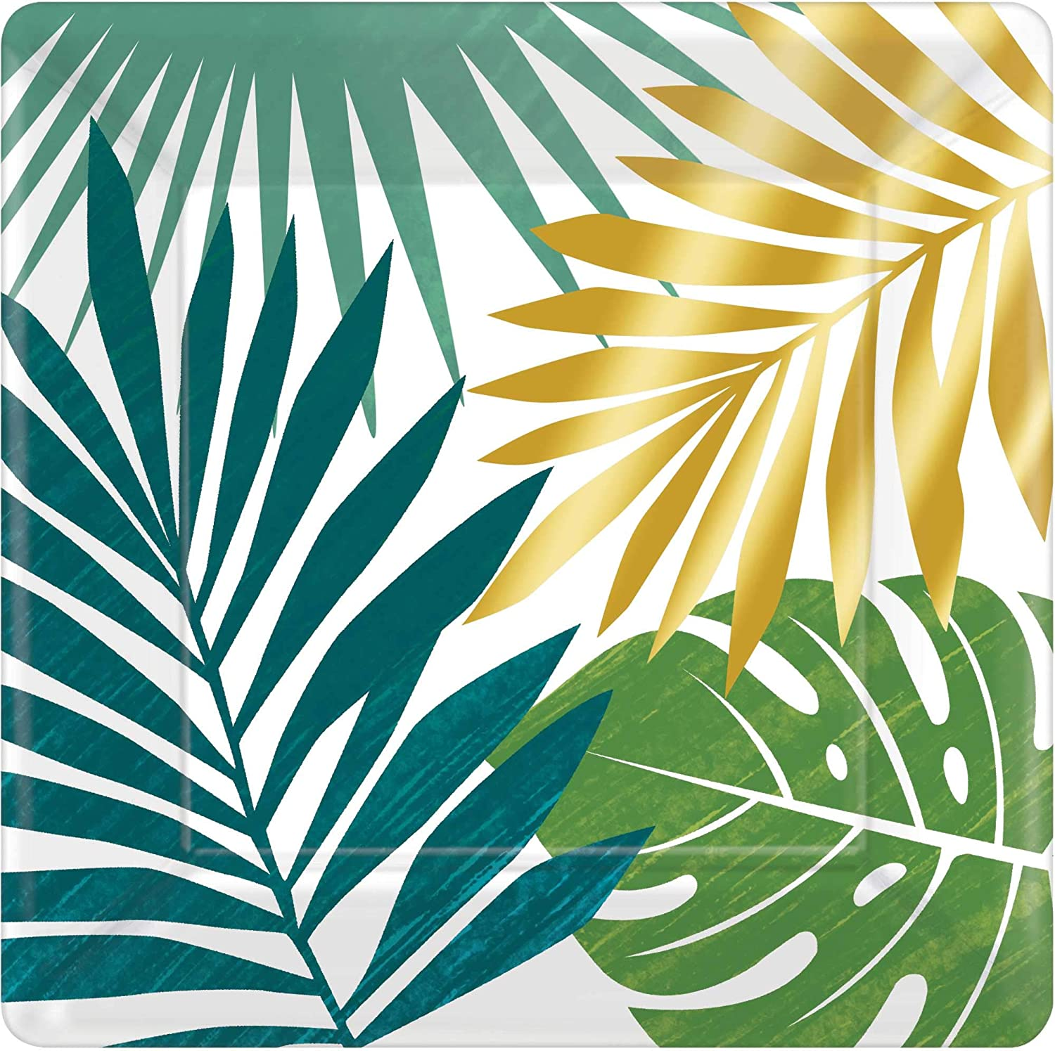 30pc 9oz Gold Palm Tree Clear Plastic Cups