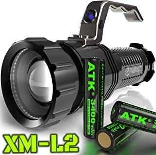 ALPHA TEK 1500 Lumen | HIGH Output | Rechargeable | ZOOMABLE Floodlight to Spotlight | X-Lamp XM-L2 CREE LED (20% Brighter Than T6 LED) Tactical Flashlight | Batteries Included | (with Batt)