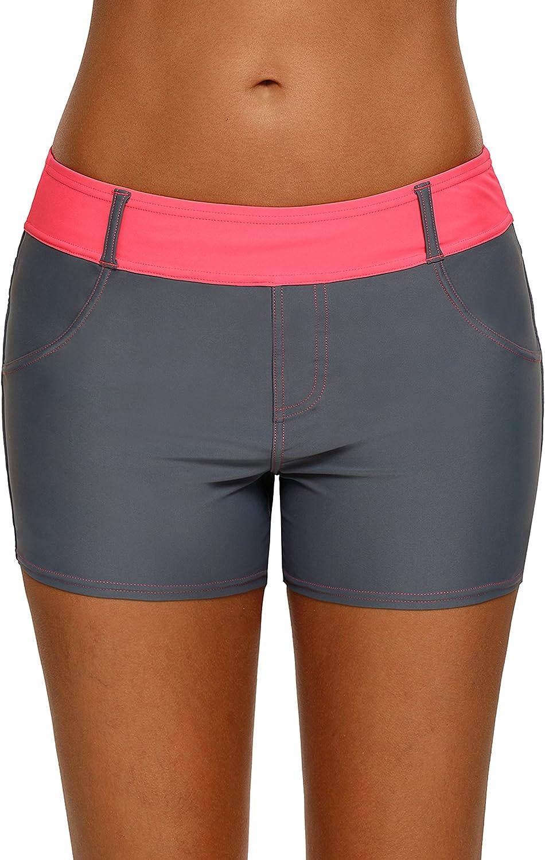Aleumdr Womens Color Block Waistband Swim Board Shorts Plus Size S - XXXL