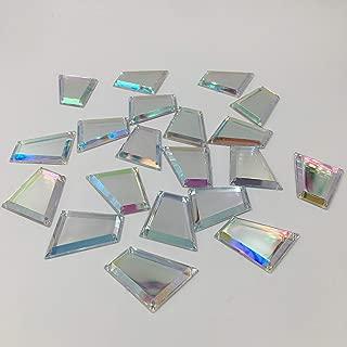20PCS Trapezoid AB Color Sew on Mirror Beads Acrylic Crystal Rhinestones Flat Back Mirrors