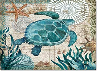 L&Z HOME Large Area Rugs Kids Nursery Rugs Throw Carpet 2' x 3', Watercolor Ocean Animals Sea Turtle Print Floor Cover Non Slip Mat Rugs for Living Room/Bedroom