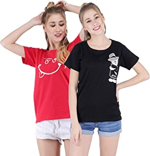 Broadstar Women Cotton Round Neck Red, Black T-Shirt (Pack of-2 Combo)
