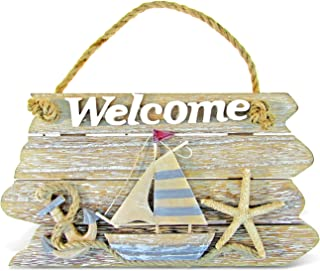 Puzzled Vintage Nautical Wooden Welcome Front Door Sign, 9.75