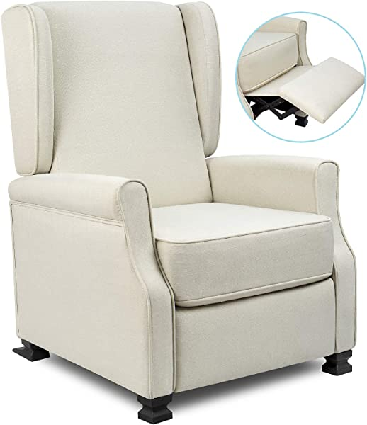 Fabric Recliner Chair Modern Wingback Single Sofa Medieval Living Room Arm Chair Home Theater Seating Push Back Club Chair Reclining Beige