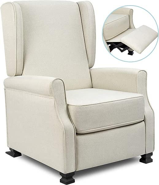 布艺躺椅现代翼背单人沙发中世纪客厅扶手椅家用影院座椅推背椅躺椅米色
