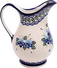 Polish Pottery Ceramika Boleslawiec, 0204/162, Pitcher K, 4 1/4 Cups, Royal Blue Patterns with Blue Pansy Flower Motif