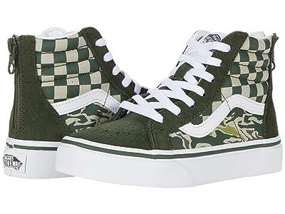 Vans Kids Sk8-Hi Zip (Little Kid) ((Camo Checkerboard) Kombu Green/True White) Kid