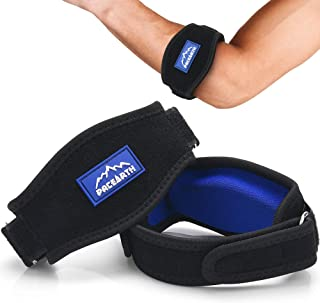 PACEARTH Golf Tennis Elbow Brace with Metal Buckle Compression Pad with 4 Adjustable Band Straps 2-Count Arm Wrist Brace Fit for Women, Men and Kids,Pain Relief for Tendonitis