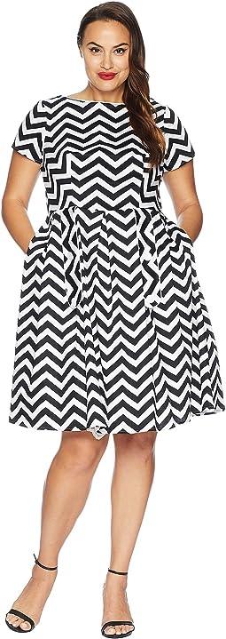 Plus Size Cotton Chevron Fit & Flare Dress