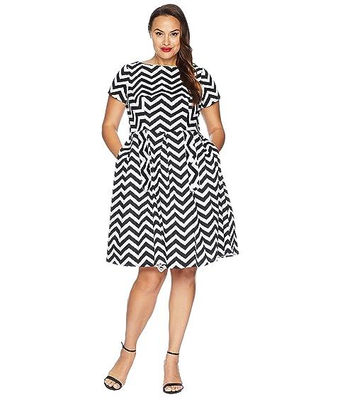 Unique Vintage Plus Size Cotton Chevron Fit Flare Dress At Zappos
