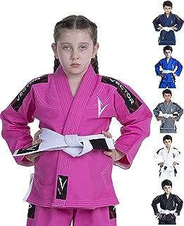 Vector Sports Kids Brazilian Jiu Jitsu BJJ Gi with Free White Belt 100% Cotton Pearl Weave Kimono Ultra Lightweight Preshrunk Fabric
