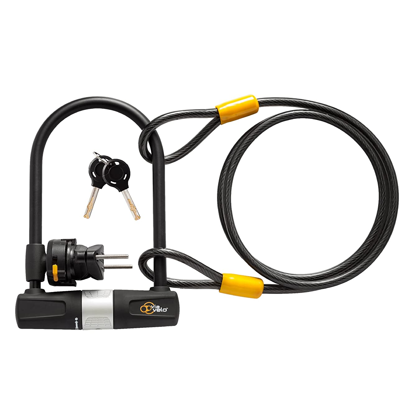 Bike U Lock with Cable - Via Velo Heavy Duty Bicycle U-Lock,14mm Shackle and 10mm x1.8m Cable with Mounting Bracket For Road Bike Mountain Bike Electric Bike Folding Bike, Great Bike Safety Tool