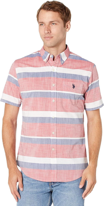 U.S. Polo Assn. Short Sleeve Yarn-Dye Slub Horizontal Stripe Woven Shirt