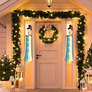 Hicarer 2 Pieces Christmas Windsock Outdoor Hanging Windsocks Winter Decorative Fabric Wind Sock with LED Lights for Front...