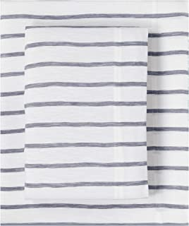Splendid Home Slub Jersey Stripe Sheet Set, King, White/Ash