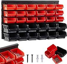 AREBOS Stapelboxen | wandrek 32-delig opslagsysteem | rood-zwart | 12 grote stapelboxen | 18 middelgrote stapelboxen | inc...