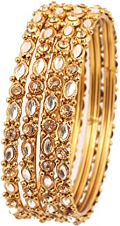 Touchstone New Golden Bangle Collection Indian Bollywood Classy Mughal Era Inspired Kundan and Filigree Work Designer Jewe...
