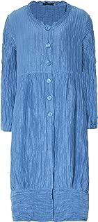 Grizas Women's Linen & Silk Crinkled Longline Jacket Blue