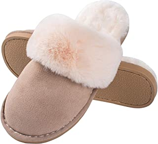 Women Men Fur Slippers Memory Foam Fluffy Slip-on House Suede Lined/Anti-Skid Sole