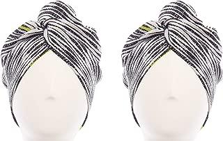 Aquis - Original Hair Turban, Patented Perfect Hands-Free Microfiber Hair Drying, Set of 2 Retro (10 x 26 Inches)