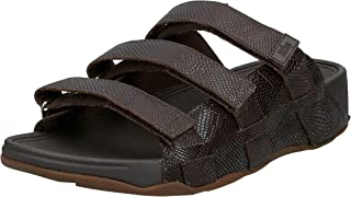 FITFLOP Ethan Croc Print Slides, Men's Fashion Sandals, Brown (Chocolate Brown)