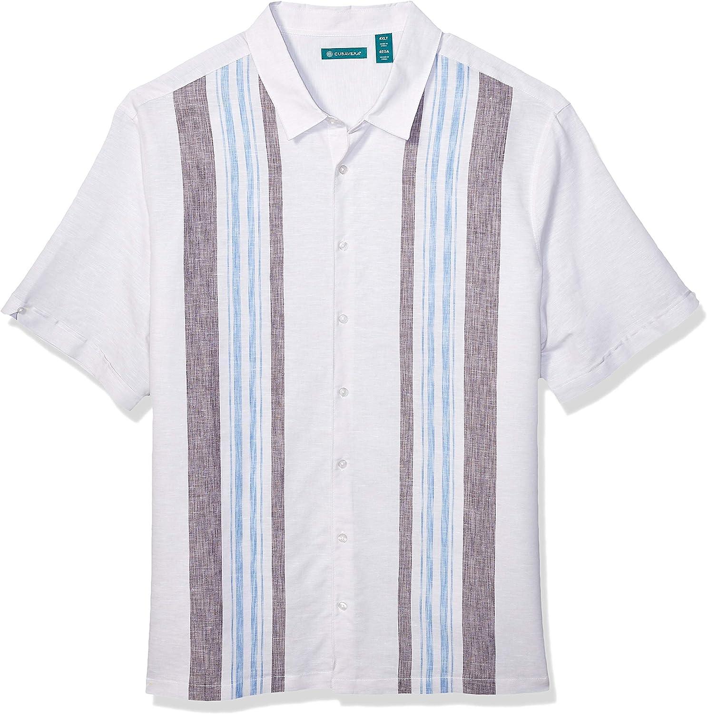 Cubavera Men's Big and Tall Big & Tall Classic Yarn Dye Panel Shirt