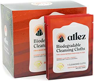 allez outdoor | Biodegradable Cleansing Cloths | Natural Plant-Based Face and Body Wipes | PH Balanced | Cactus Bloom and Chaparral Scent | 20ct Individually Wrapped Towelettes