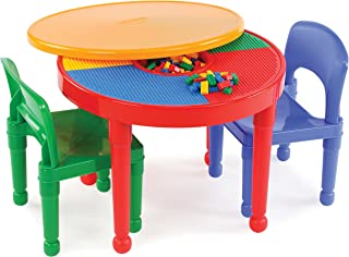 Tot Tutors CT599 Primary Colors 2-in-1 Round Plastic Construction Table and 2 Chairs