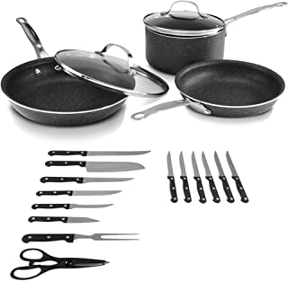 Granitestone 2610 Pots and Pans, Cutlery and Knife Set, Scratch-Resistant, Nonstick Granite-coated, PFOA-Free As Seen On TV (19 Piece Set)