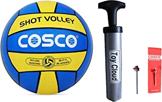 DealBindaas Nylon, Leather Volleyball with Pump and Needle, (Combo) Size 4, (Multicolour)