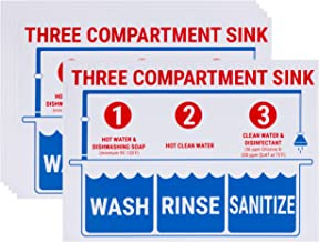 Sink Signs - 6-Pack Sink Sticker Labels, Wash Rinse Sanitize Labels for 3 Compartment Sink, Food Prep Sign in English, for Restaurant, Kitchen, Food Truck, Bussing Station, Dishwashing, 10 x 7 Inches