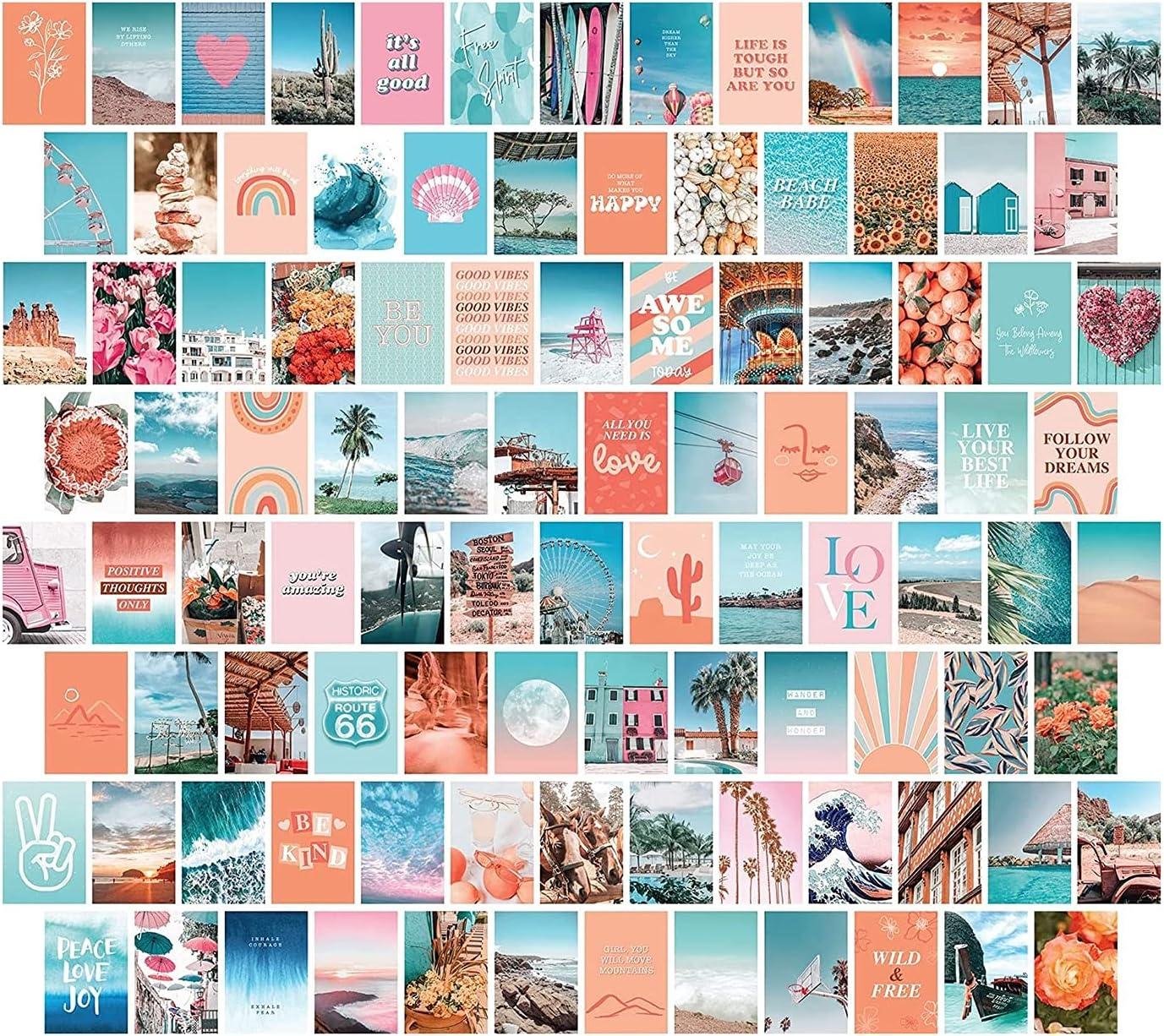 Funiee 100 PCS Wall Collage Kit Pictures Estética, 100 Set Decoración De La Habitación Estética, 4X6 Pulgadas De Estilo Boho Decoración De La Habitación para Niñas, VSCO Posters para Dormitorio