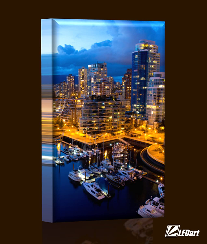 LED Bild - Bilder fertig gerahmt - Kunstdruck auf Wandbild - Leuchtendes LED Bild - LED Wandbild - Model 15b (Stadt bei Nacht - Moderne Stadt) - 60x40 cm