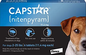 Elanco Animal Health Capstar Fast-Acting Oral Flea Treatment for Small Dogs, 6 Doses, 57 mg (2-25 lbs)