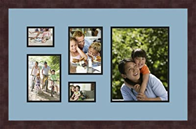 Art to Frames Double-Multimat-1127-594//89-FRBW26061 Collage Frame Photo Mat Double Mat with 2-5x7 and 1-8x10 Openings and Espresso frame