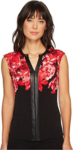 Calvin Klein - Print Top with Faux Leather & Chain
