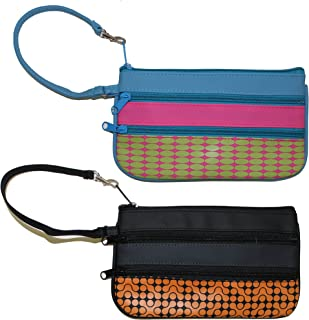Inkology Color Block Wristlet Pouch, 8.75 x 4.75 Inches, Faux Leather, Set of 6, Multicolored Designs (04862)