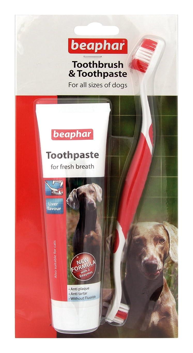 コジオスコバター絶縁するBeapharどのサイズのワンちゃんにも使える歯ブラシ&歯みがき レバー味 歯石防止効果 (並行輸入品)