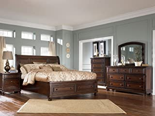 6 Pieces Complete Traditional Cottage Sleigh Storage Bedroom Set - Brown Finish Solid Wood
