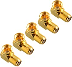 Cable Matters 5-Pack Gold Plated Right Angle F-Type Coaxial RG6 Adapter