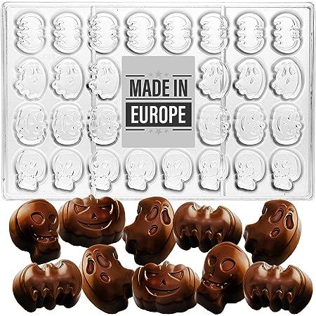 Crystalia Molde especial de policarbonato 3D para chocolate, diseño de fantasma de calabaza y murciélago para hacer dulces de Halloween