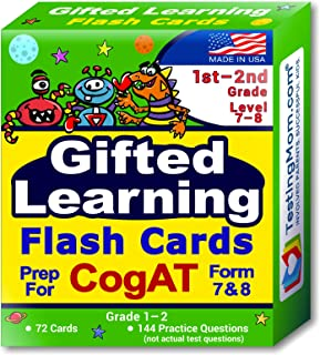 TestingMom.com CogAT Test Prep Flash Cards – Grade 1 (Level 7) - Grade 2 (Level 8) – 140+ Practice Questions – Tips for Hi...