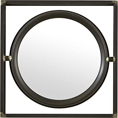 Amazon Brand – Stone & Beam Industrial Square Floating Metal Wall Mirror, 12 Inch Height, Black