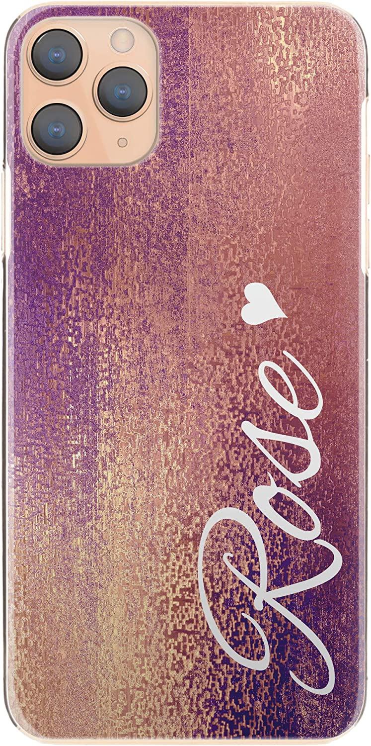 Personalised Case For Apple iPod touch (6th Gen), Initial/Name Pink Gold Colour Grain Print Hard Cover