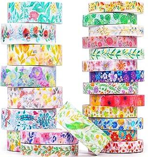 Lot de 23 rouleaux de ruban adhésif Washi Tape pour Bullet Journal, Scrapbooking, Artisanat, Bricolage, Motifs floraux