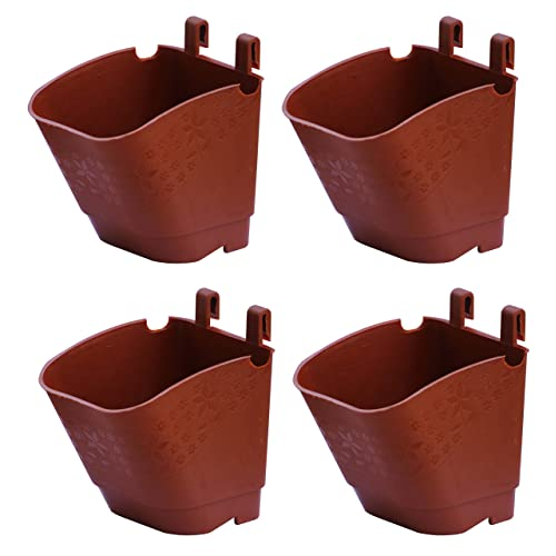 NOVICZ 4 Pcs Vertical Garden Pots and Planter Wall Hanging pots for Plants, Brown Color
