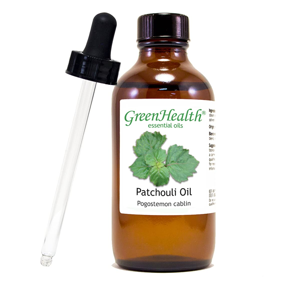 GreenHealth Patchouli – 4 fl oz (118 ml) Glass Bottle w/Glass Dropper – 100% Pure Essential Oil