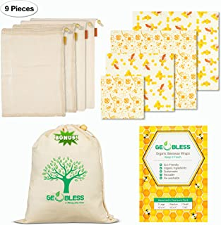 Geobless Beeswax Wraps and Reusable Produce Bags (8-Pc. Bundle) Eco-Friendly, Sustainable Food Storage   Reusable Food Wrap Plastic Free Zero Waste   Home, Refrigerator, Kitchen   Small, Medium, Large
