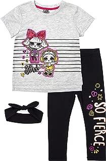 L.O.L. Surprise! Be Bold SS Flip Sequin Tee and Capri Legging Set (White/Pink/Black, 6)