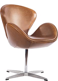 Mid Century Modern Classic Arne Jacobsen Style Swan Replica Chair with Premium Vintage Caramel Brown PU Leather and Stainless Steel Frame